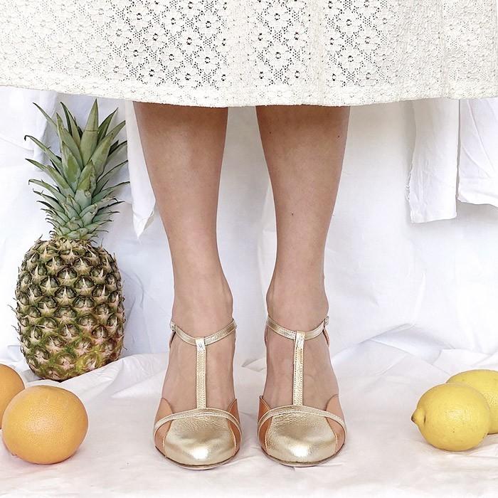 scarpetta-di-venere-scarpe-artigianali-sposa-Azzurra-oro-rame-1b
